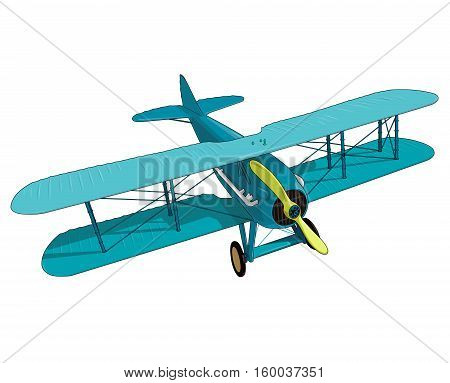 Biplane from World War with blue coating. Model aircraft propeller with two wings. Old retro aircraft designed for poster printing. Beautifully and realistically drawn vector flying biplane.