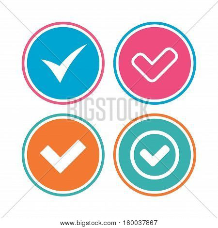 Check icons. Checkbox confirm circle sign symbols. Colored circle buttons. Vector