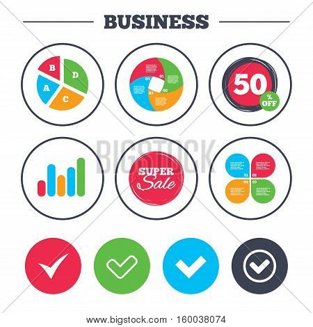 Business pie chart. Growth graph. Check icons. Checkbox confirm circle sign symbols. Super sale and discount buttons. Vector