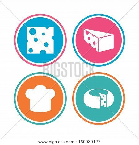 Cheese icons. Round cheese wheel sign. Sliced food with chief hat symbols. Colored circle buttons. Vector