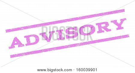 Advisory watermark stamp. Text caption between parallel lines with grunge design style. Rubber seal stamp with dust texture. Vector violet color ink imprint on a white background.