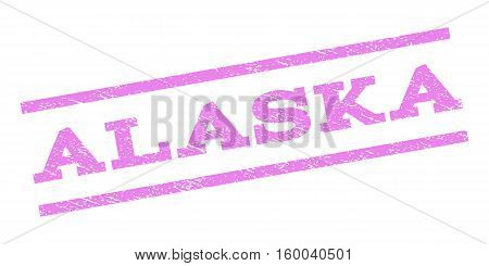 Alaska watermark stamp. Text tag between parallel lines with grunge design style. Rubber seal stamp with dirty texture. Vector violet color ink imprint on a white background.