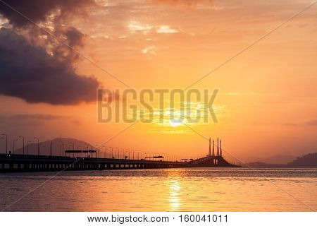 Concrete bridge view during sunrise as background