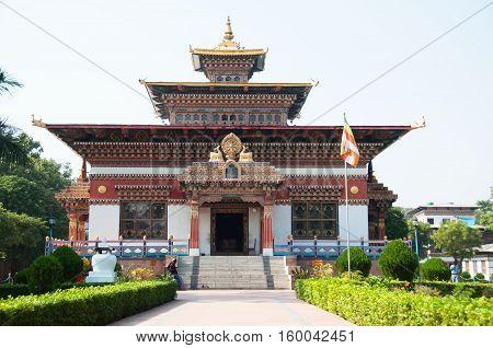 Bhutanian buddhist temple in high himalaya mountain