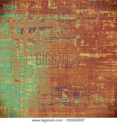 Tinted vintage texture, aged decorative grunge background with traditional antique elements and different color patterns: yellow (beige); brown; gray; blue; red (orange); cyan