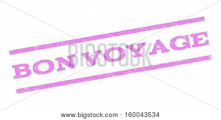 Bon Voyage watermark stamp. Text caption between parallel lines with grunge design style. Rubber seal stamp with dirty texture. Vector violet color ink imprint on a white background.