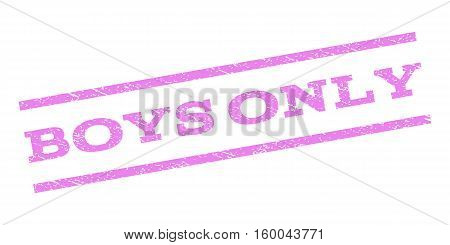 Boys Only watermark stamp. Text caption between parallel lines with grunge design style. Rubber seal stamp with scratched texture. Vector violet color ink imprint on a white background.