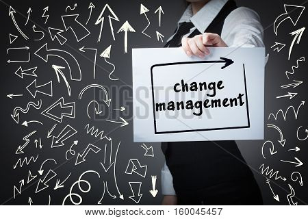 Technology, Internet, Business And Marketing. Young Business Woman Writing Word: Change Management