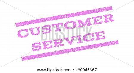 Customer Service watermark stamp. Text caption between parallel lines with grunge design style. Rubber seal stamp with unclean texture. Vector violet color ink imprint on a white background.