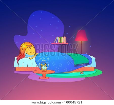 Girl or woman sleeping or dreaming in bed with pillow. Female sleeping in bedroom interior at bedtime, tired beautiful woman asleep. For health or room theme, sleeping woman or girl, lady in bed