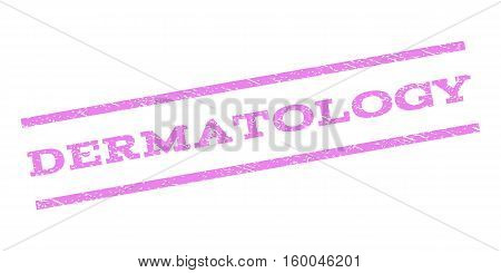 Dermatology watermark stamp. Text tag between parallel lines with grunge design style. Rubber seal stamp with scratched texture. Vector violet color ink imprint on a white background.