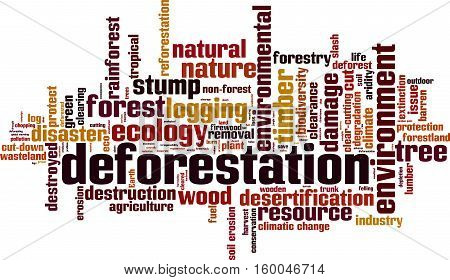 Deforestation word cloud concept. Vector illustration on white
