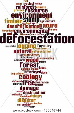 Deforestation word cloud concept. Vector illustration on white