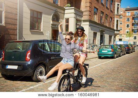 Vivacious Young Woman Having Fun With A Girlfriend