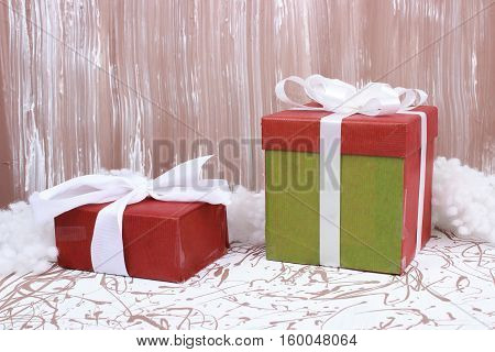 Christmas gift boxes on art creative background