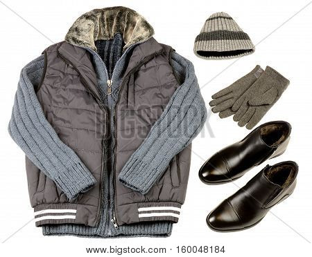 warm winter men's clothing on a white background. collage of warm clothes