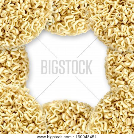 Frame of instant noodles close up isolated on white background. Oriental unhealthy tasty fastfood.