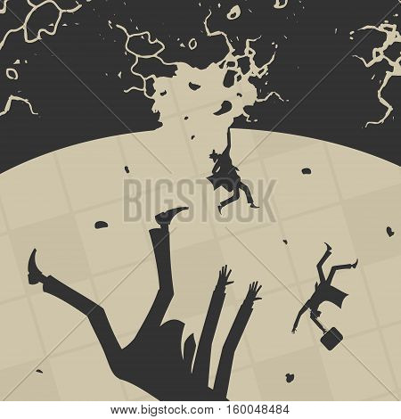 Business People fall into the abyss vector illustration