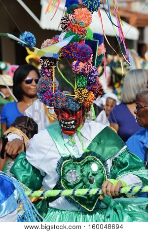LOS SANTOSPANAMA-JUNE 132015: Corpus Christi Feast celebration in the streets of Los Santos with dancing demons with the colorful hand made masks
