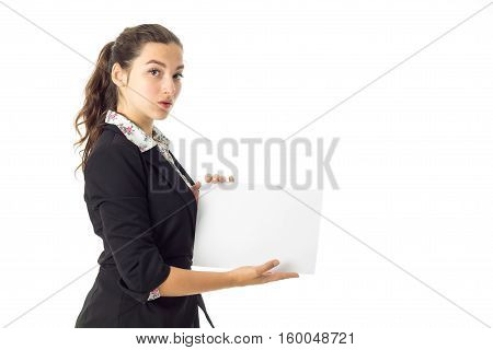 cutie brunette business woman in uniform with white placard in hands isolated on white background