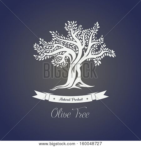 Isolated greece olive oil tree with branches. Perfect for decorative tree banner, vegetarian olive food or drink, mediterranean or greece plant, olive grove logo or sticker, label for bottle with oil
