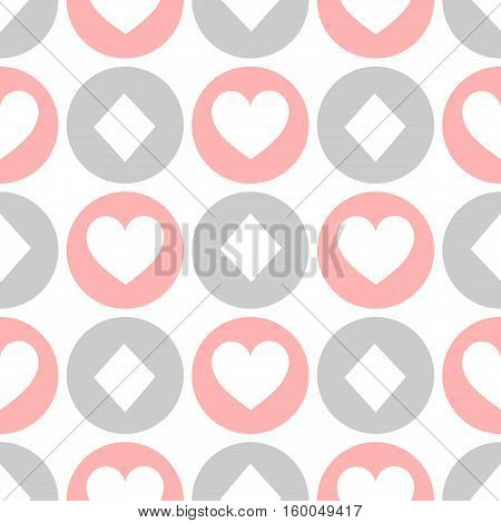 seamless pattern. EPS 10 vector illustration. used for printing websites design decoration interior fabrics etc. different multi-colored heart and a diamond in a circle of poker color white red black.