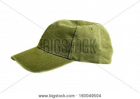 Macro shot of a green baseball cap on white