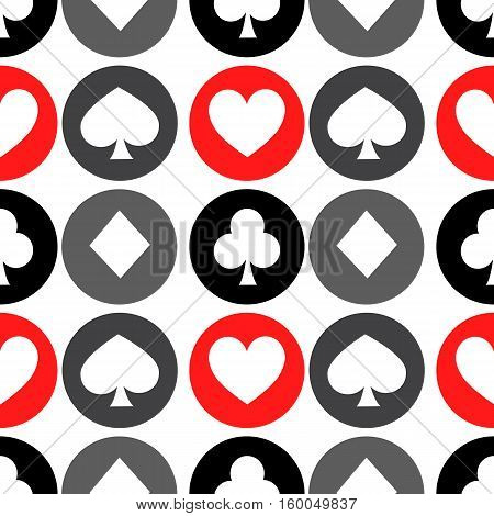 seamless pattern. EPS 10 vector illustration. used for printing websites design interior fabrics etc. white diamond in the gray circle poker suit heart in a red circle club in the black circle.