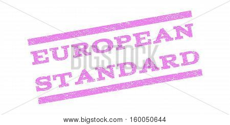 European Standard watermark stamp. Text tag between parallel lines with grunge design style. Rubber seal stamp with dust texture. Vector violet color ink imprint on a white background.