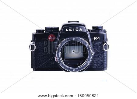 PANAMA PANAMA - JULY 30 2015: Leica R4 were 35mm SLR cameras manufactured by Leica between 1980 and 1996