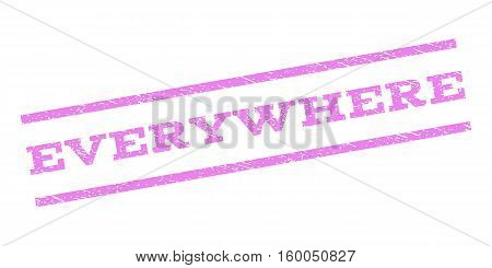 Everywhere watermark stamp. Text tag between parallel lines with grunge design style. Rubber seal stamp with dust texture. Vector violet color ink imprint on a white background.