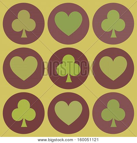 seamless pattern. EPS 10 vector illustration. used for printing websites design interior fabrics etc. hearts and clubs card suit on burgundy circles on gold background