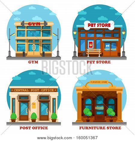 Pet shop and furniture store, post office and gym or gymnasium. Architecture of letter delivery building and animal care shop or store, furniture and sport club building. Shop or store exterior view
