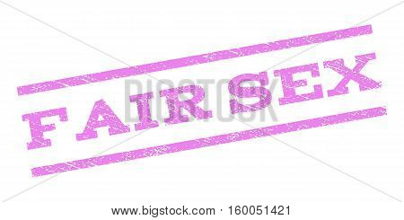 Fair Sex watermark stamp. Text tag between parallel lines with grunge design style. Rubber seal stamp with dust texture. Vector violet color ink imprint on a white background.