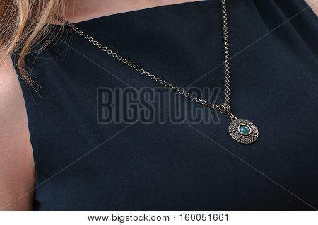 woman with necklace, Beautiful Necklace in focus.