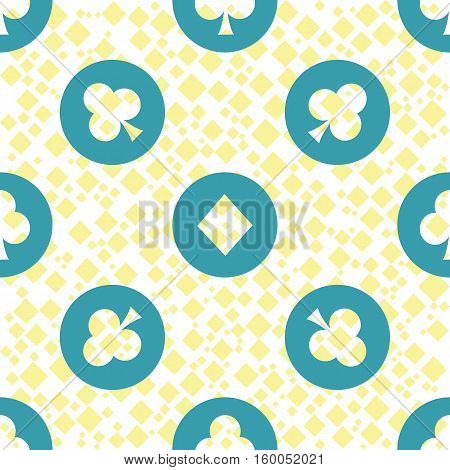 seamless pattern. EPS 10 vector illustration. used for printing websites design interior fabrics etc. poker card game gambling theme clubs and diamonds on blue circles