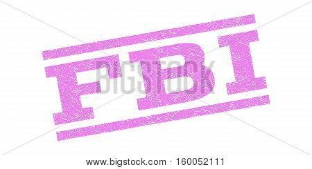 FBI watermark stamp. Text caption between parallel lines with grunge design style. Rubber seal stamp with scratched texture. Vector violet color ink imprint on a white background.