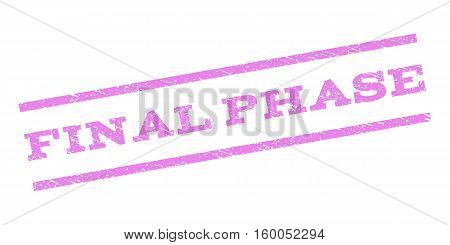 Final Phase watermark stamp. Text caption between parallel lines with grunge design style. Rubber seal stamp with unclean texture. Vector violet color ink imprint on a white background.