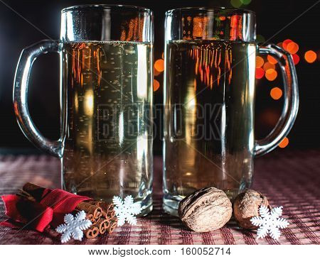Funny Image Of Two Beer Glasses Of Champagne
