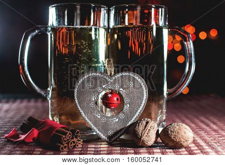 Funny Romantic Image Of Two Beer Glasses Of Champagne