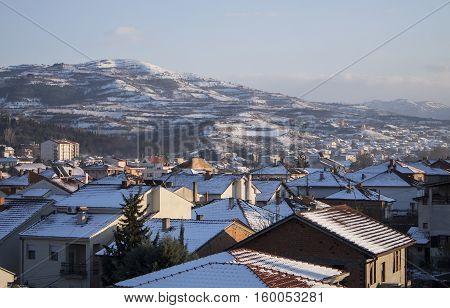 Winter in the Tikvesh winery region. Edge of town Kavadarci, Macedonia. The heart of Macedonia wine industry.