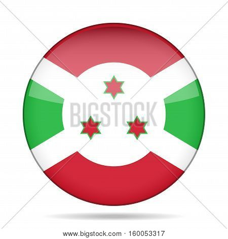 National flag of Burundi. Shiny round button with shadow.