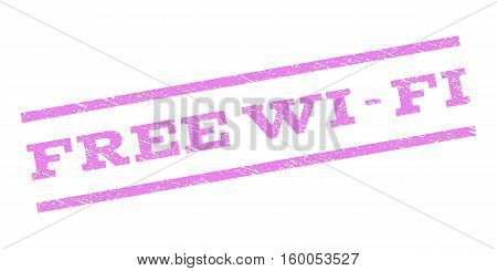 Free Wi-Fi watermark stamp. Text caption between parallel lines with grunge design style. Rubber seal stamp with scratched texture. Vector violet color ink imprint on a white background.