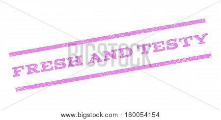 Fresh and Testy watermark stamp. Text tag between parallel lines with grunge design style. Rubber seal stamp with scratched texture. Vector violet color ink imprint on a white background.