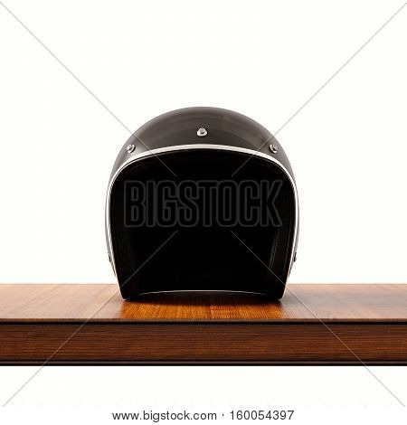 Front side view of black color vintage style motorcycle helmet on natural wooden desk.Concept classic object white background.Square.3d rendering