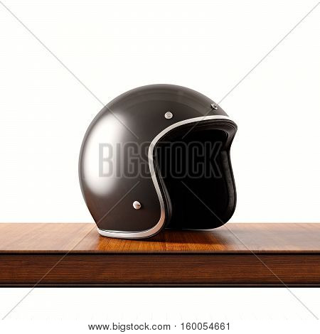 Side view of black color retro style motorcycle helmet on natural wooden desk.Concept classic object white background.Square.3d rendering