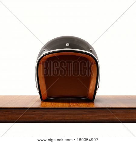 Front side view of black color vintage style motorcycle helmet on natural wooden desk.Concept classic object isolated white background.Square.3d rendering