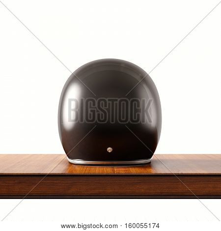 Back side view of black color vintage style motorcycle helmet on natural wooden desk.Concept classic object isolated white background.Square.3d rendering