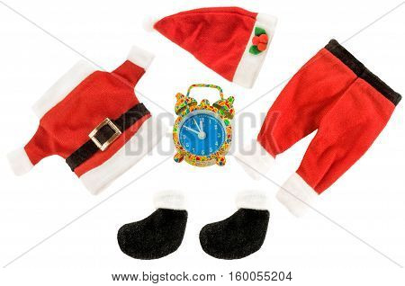Santa Claus holiday suit with alarm clock isolated over white. Christmas time. Horizontal.