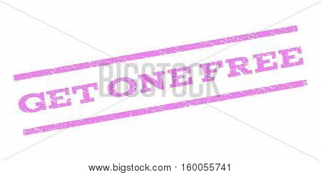 Get One Free watermark stamp. Text caption between parallel lines with grunge design style. Rubber seal stamp with scratched texture. Vector violet color ink imprint on a white background.